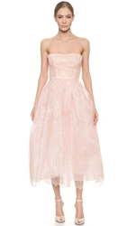 Monique Lhuillier Iridescent Lace Strapless Dress Blush