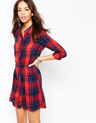 Only Checked Shirt Dress Redcheck