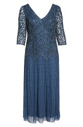 Pisarro Nights Plus Size Women's Beaded V Neck Lace Illusion Gown Navy