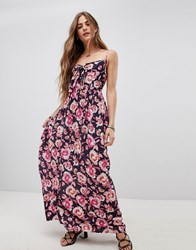 Band Of Gypsies Tie Front Maxi Dress In Floral Print Navy