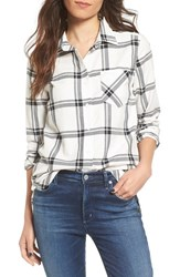 Rvca Women's Plaid Long Sleeve Shirt Vintage White