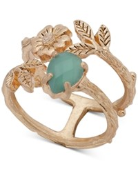Lonna And Lilly Gold Tone Stone Flower Leaf Double Row Ring Created For Macy's Green