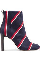 Rag And Bone Ellis Leather Trimmed Striped Twill Boots Navy