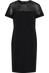 Mikael Aghal Sequined Tulle Paneled Crepe Dress Black