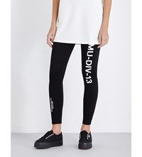 Musium Logo Print Skinny Stretch Jersey Leggings Black Combo Only