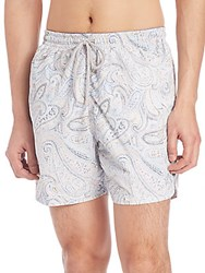Saks Fifth Avenue Paisley Print Swim Trunks Blue