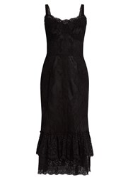 Dolce And Gabbana Sleeveless Lace Tulle Midi Dress Black