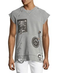 Hudson Rex Cutoff Short Sleeve Sweatshirt With Patches Gray Freak Scene