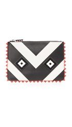 Les Petits Joueurs Envelope Small Mask Clutch Black White Red