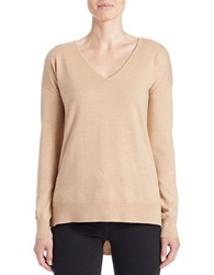 Lord And Taylor Plus Merino Wool Knit V Neck Tunic Honey Heather