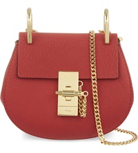 Chloe Drew Nano Saddle Cross Body Bag Plaid Red