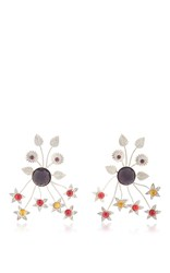 Rodarte Nickel Floral Burst Earrings With Ruby Glass Cabochons Multi