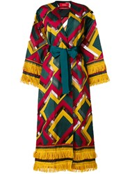 F.R.S For Restless Sleepers Embroidered Belted Coat Multicolour
