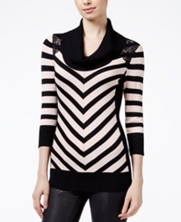 Amy Byer Bcx Juniors' Striped Cowl Neck Sweater Blush