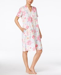 Miss Elaine Short Sleeve Zip Front Robe Watercolor Multi Floral