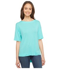 Three Dots Slub Tuxedo Tee Lagoon Women's T Shirt Blue