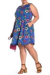 Vince Camuto Floral Fit And Flare Dress Plus Size Cobalt