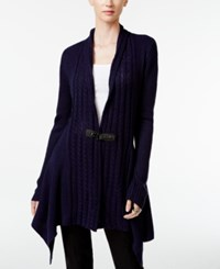 One A Buckled Cable Knit Sweater Evening Blue W Black Buckle