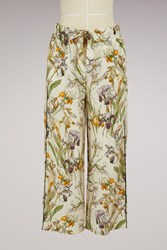 Alexander Mcqueen Printed Silk Pyjama Trousers 9160 Ivory Mix