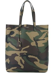 Saint Laurent Camouflage Print Tote Green