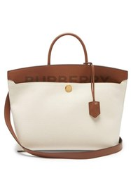 Burberry Society Canvas And Leather Tote Bag Cream Multi
