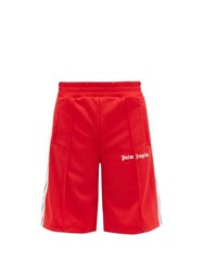Palm Angels Logo Print Side Stripe Jersey Shorts Red