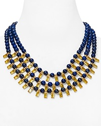 Lauren Ralph Lauren Multi Strand Statement Necklace 20 Off The Runway Signature Collection Blue Yellow Worn Gold