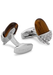 Simon Carter Swarovski Embellished Acorn Cufflinks Brown