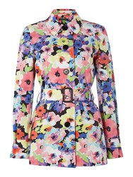 Lauren Ralph Lauren Floral Print Trench Coat Multi Coloured