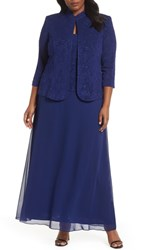Alex Evenings Plus Size Lace And Chiffon Gown With Jacket Electric Blue