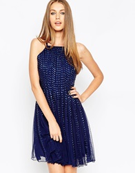 Asos After Party Dome Strip Dress Navy