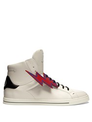Fendi Faces High Top Leather Trainers White Multi