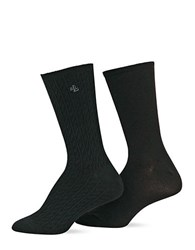 Ralph Lauren 2 Pack Supersoft Cable Polo Trouser Socks Black