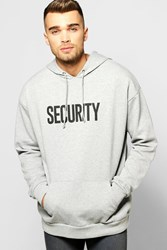 Boohoo Oversized Security Print Hoodie Grey