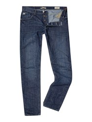 Blend Of America Dark Wash Low Rise Jeans Mid Blue