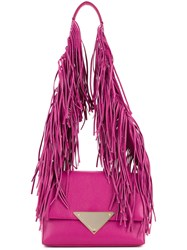 Sara Battaglia Fringed Strap Shoulder Bag Women Calf Leather One Size Pink Purple