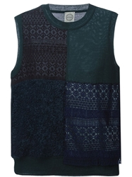 Antipast Patchwork Knitted Vest Blue