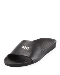 Schutz Follow Me Leather Slide Sandal Black Silver Black Silver
