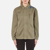 Maison Scotch Women's Army Jacket With Embroidery Military Green