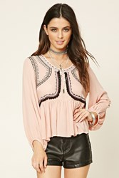Forever 21 Embroidered Tassel Top