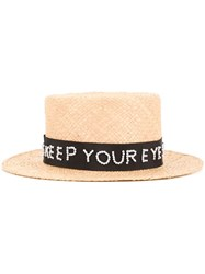 Muveil 'Keep Your Eyes Open' Hat Women Raffia One Size Brown