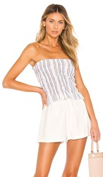 Blue Life Fleur Top In White. White And Blue