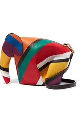Loewe Elephant Striped Leather Shoulder Bag Red