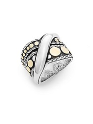 John Hardy Dot Menari 18K Yellow Gold And Sterling Silver Twist Ring Silver Gold