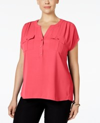 Inc International Concepts Plus Size Mixed Media Utility Shirt Only At Macy's Polished Coral