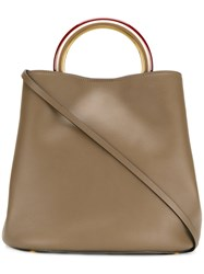 Marni Pannier Tote Bag Women Calf Leather Brass One Size Green