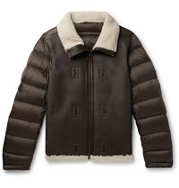 Ten C Shearling Lined Leather And Quilted Shell Down Liner Brown