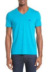 Burberry Men's Brit 'Lindon' V Neck Cotton T Shirt Bright Turquoise