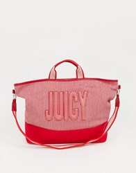 Juicy Couture Parker Canvas Tote In Red Mix