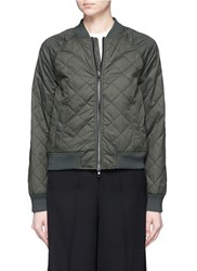 Vince Diamond Quilted Bomber Jacket Green